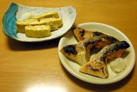 鮭カマ焼きと玉子焼き