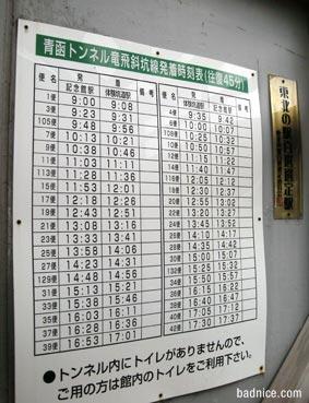 トロッコ時刻表