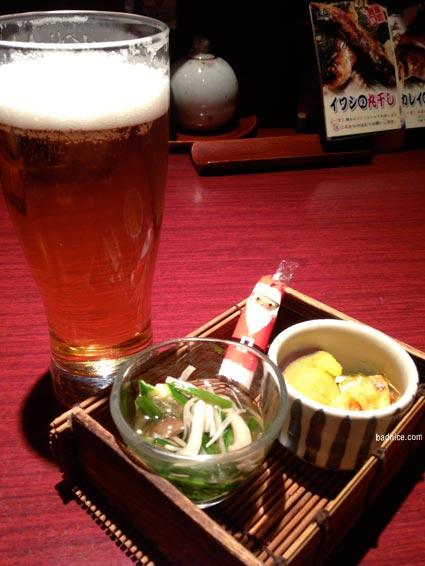 生ビールとお通し12/26