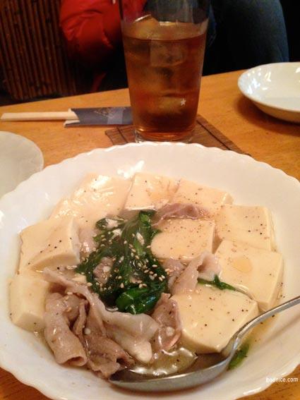 蘭太郎ニラ肉豆腐炒め