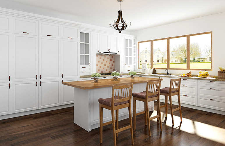 Transitional White L-Shaped Kitchen with Island