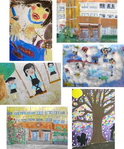 いもほり体験、校舎、お話などを題材にした子供たちの作品