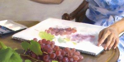 やわらかいタッチで水彩画の優しさ、透明感を表現している