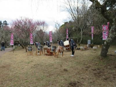 修善寺梅林で和太鼓の演奏がありました