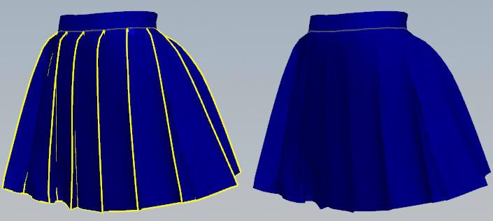 3Dのプリーツスカート
