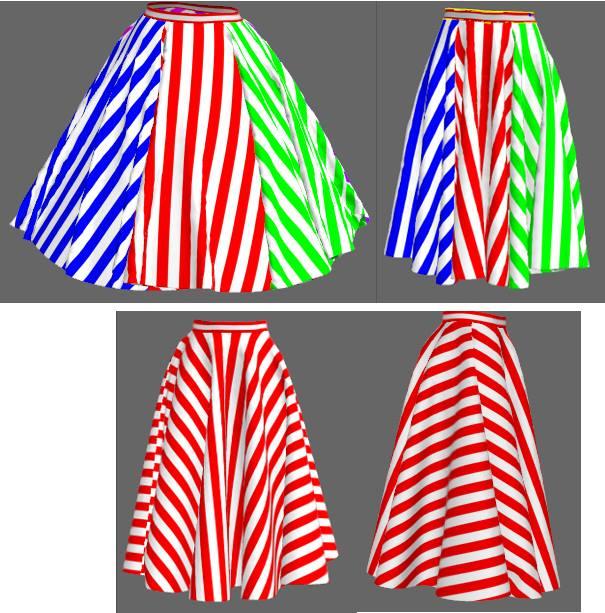 ストライプの全円スカート