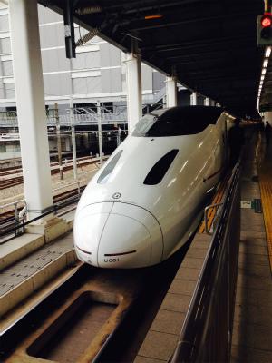 博多駅フォームの九州新幹線「つばめ」