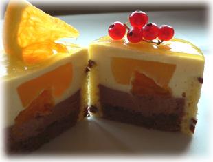 オレンジとチョコレートのムース・カット