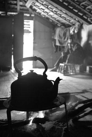煙味のプーアル茶