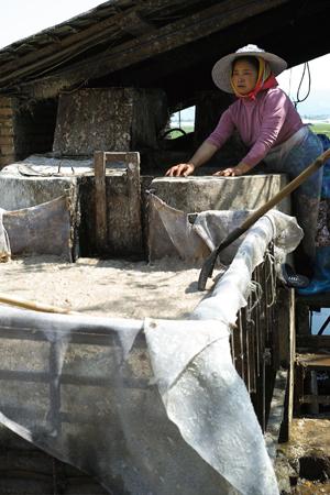 木の皮を煮ているおばちゃん