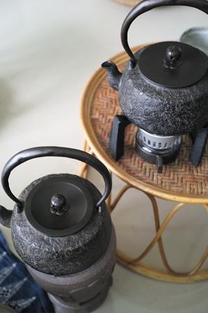 炭火とアルコールランプ