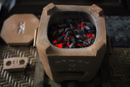 炭火とプーアール茶