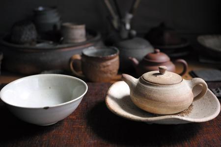 チェコ土の茶壺と茶杯