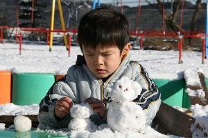 雪でつくったいぬだよ!可愛いでしょ!!