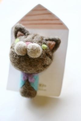 フワコロ*クラフト 羊毛 ブローチ 猫