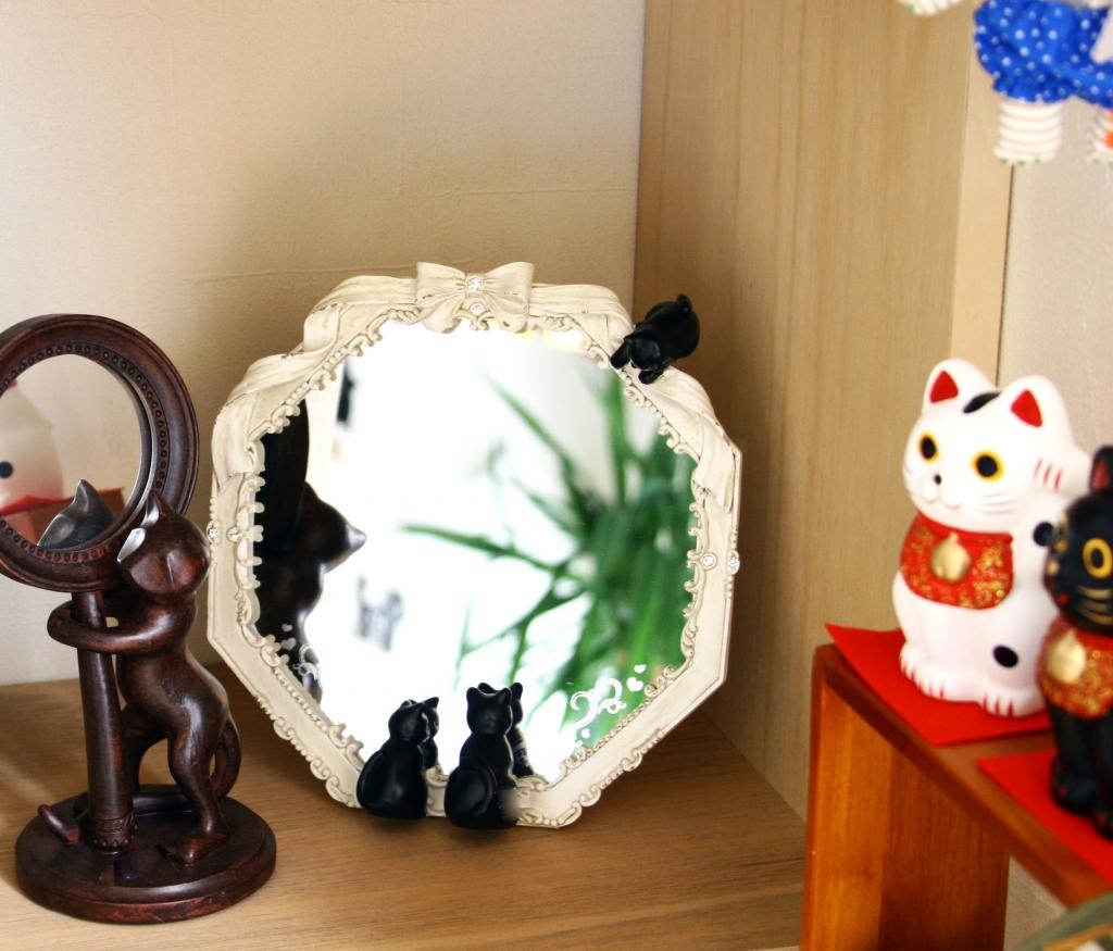 猫雑貨 猫グッズ 鏡 八角