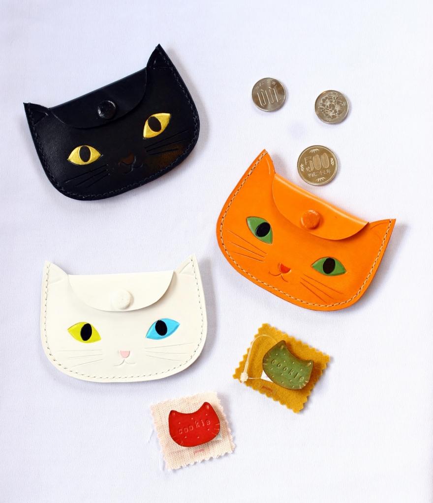猫 雑貨 ハンドメイド 革 コインケース