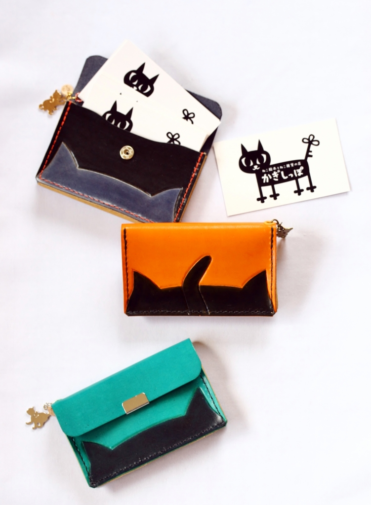 猫 雑貨 ハンドメイド 革 カードケース