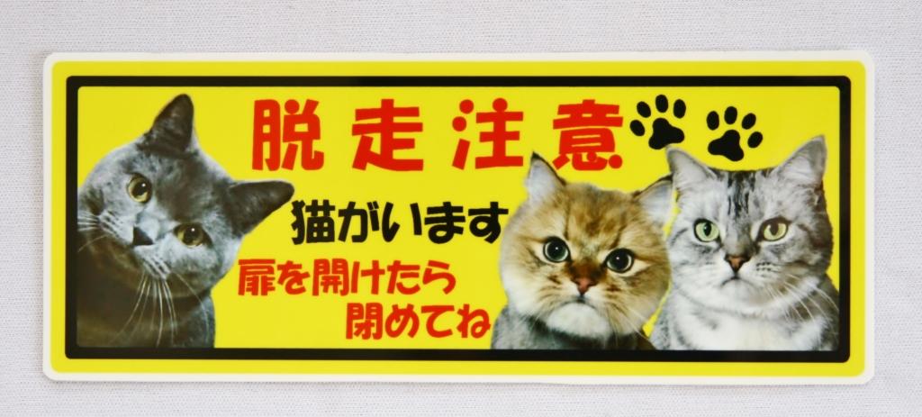 猫雑貨 ステッカー 脱走注意 秋田