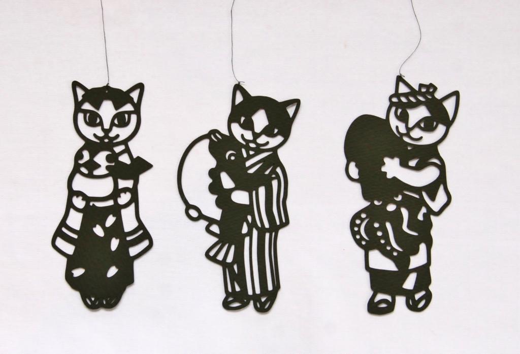 猫雑貨 切り絵 秋田