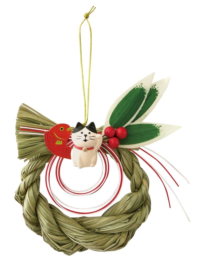 正月 まったり縄飾り デコレ concombre 猫雑貨 秋田 かぎしっぽ