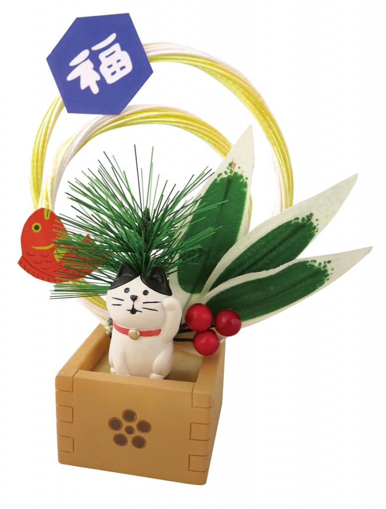 正月 まったり枡飾り デコレ concombre 猫雑貨 秋田 かぎしっぽ