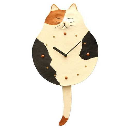 手すき和紙 掛け時計 猫雑貨 秋田 かぎしっぽ