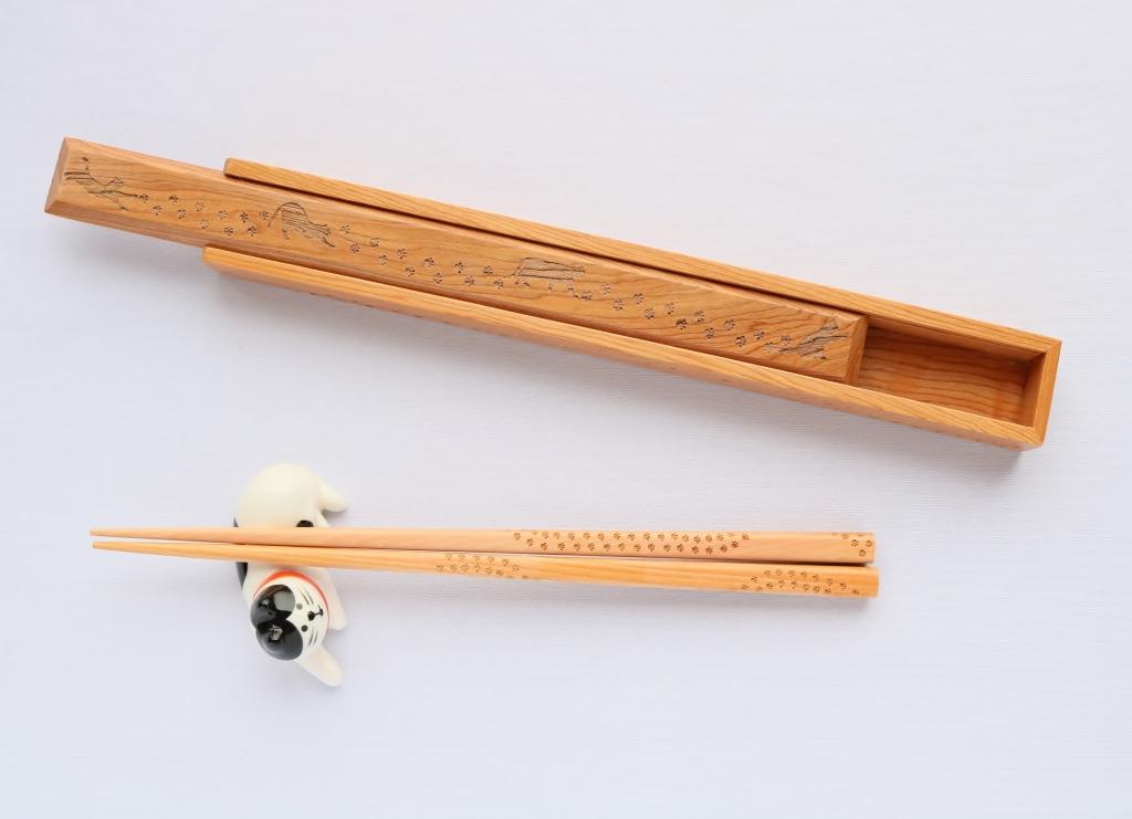 猫雑貨 秋田 かぎしっぽ MOON 箸 箸ケース 肉球