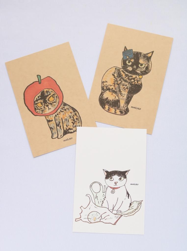 ねねころ 秋田 かぎしっぽ ハンドメイド 猫雑貨 ポストカード nenekoro