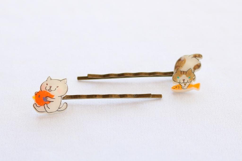 ヘアピン 猫雑貨 アクセサリー ハンドメイド 秋田 かぎしっぽ フワコロ*クラフト