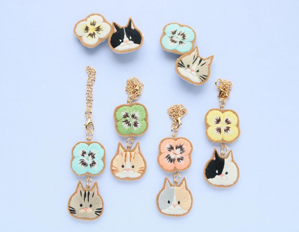 chic_chic_cat 刺繍 ハンドメイド ブローチ 猫雑貨 秋田 かぎしっぽ
