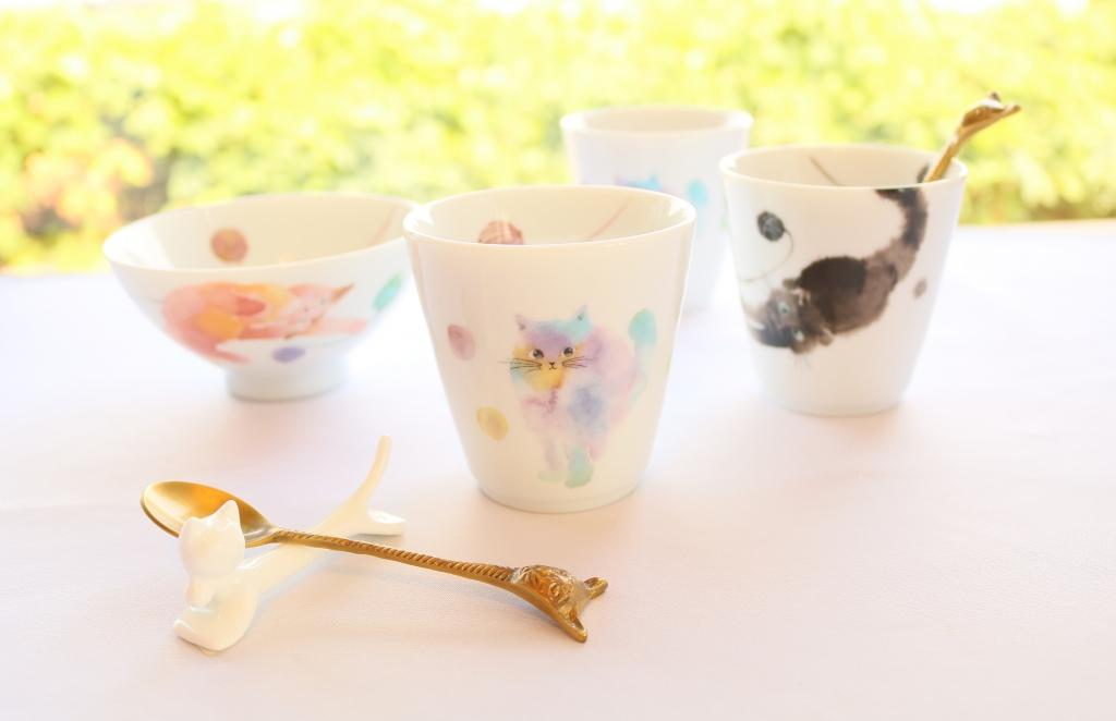 猫雑貨 カップ 茶碗 スプーン 秋田 かぎしっぽ
