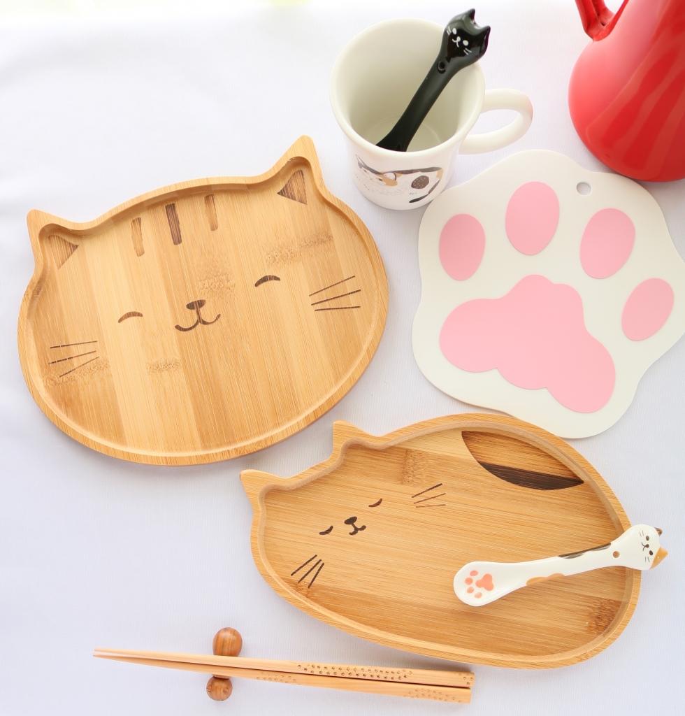 猫雑貨 猫グッズ 秋田 かぎしっぽ 竹プレート