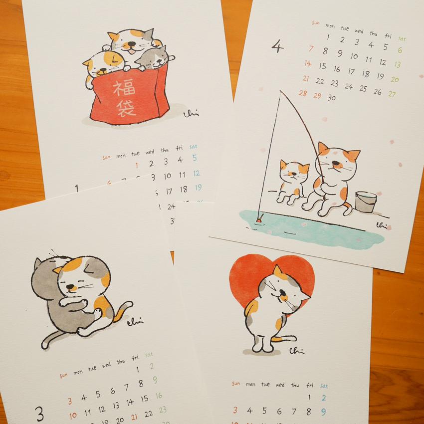 猫雑貨 猫グッズ 秋田 かぎしっぽ カレンダー カミムラアキコ necoya