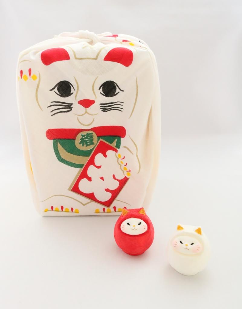猫雑貨 猫グッズ ハンカチ 招き猫 駄菓子ハンカチ おもちゃぬの