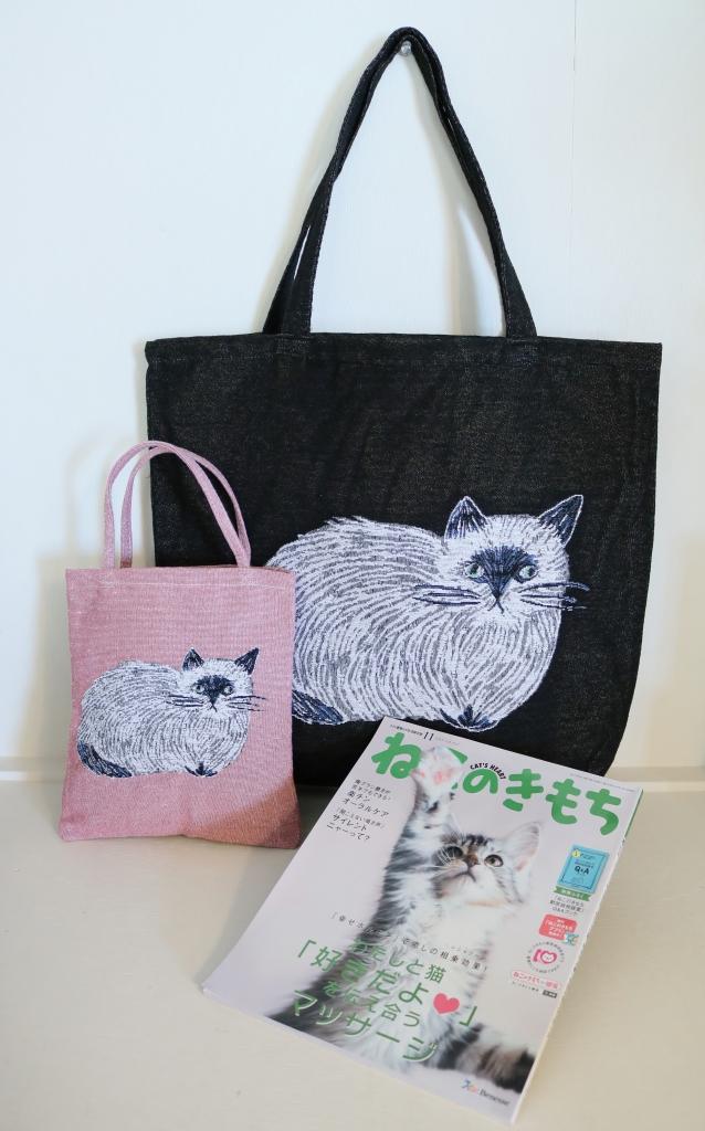 猫雑貨 猫グッズ 秋田 かぎしっぽ 松尾ミユキ トートバッグ