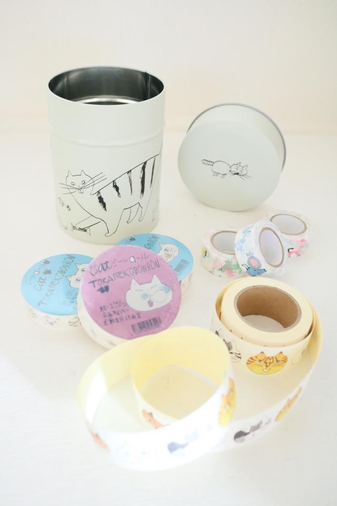 猫雑貨 猫グッズ 秋田 かぎしっぽ トラネコボンボン コーヒー缶 ブリキ缶