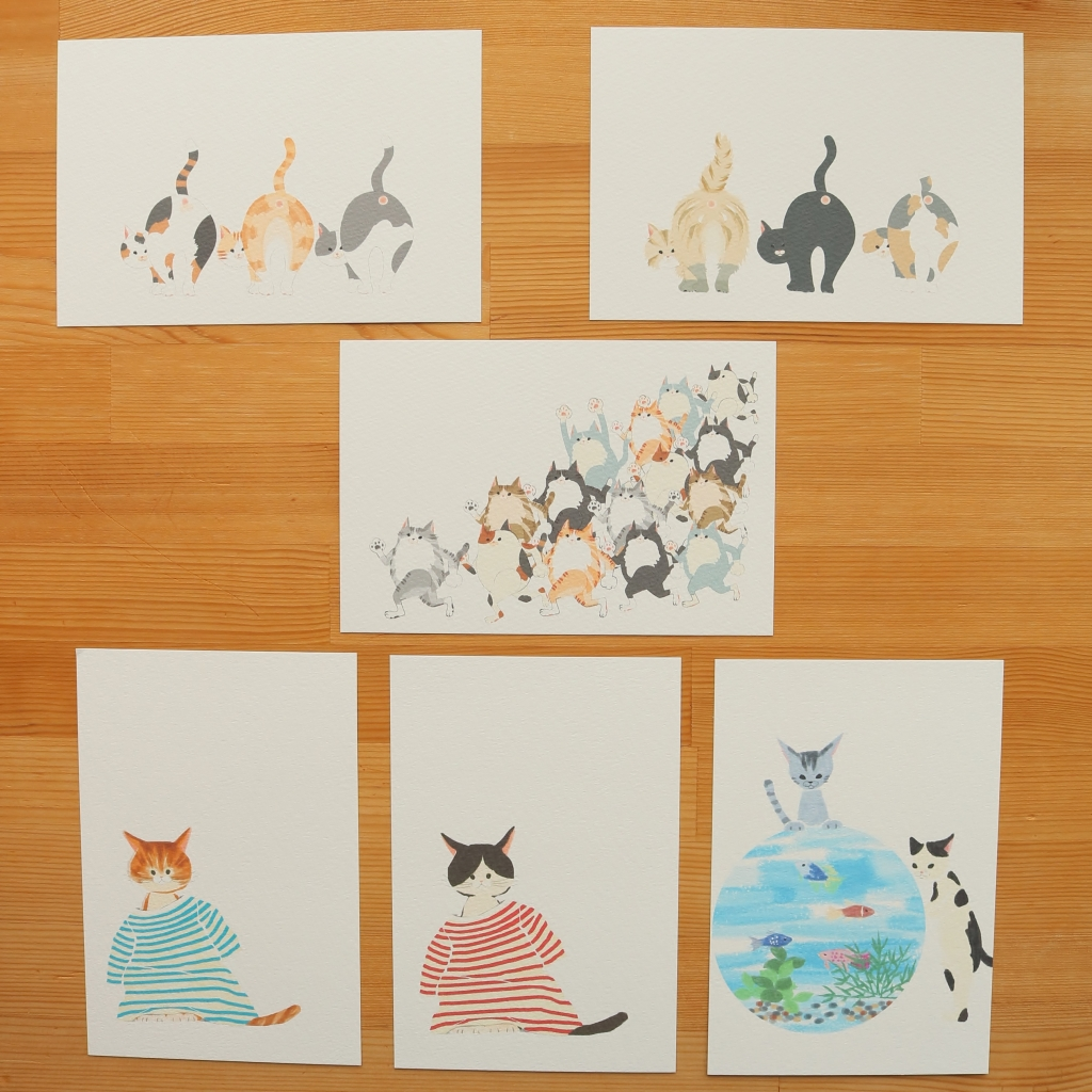 chic_chic_cat 刺繍 ハンドメイド ポストカード 秋田 かぎしっぽ 猫雑貨 猫グッズ