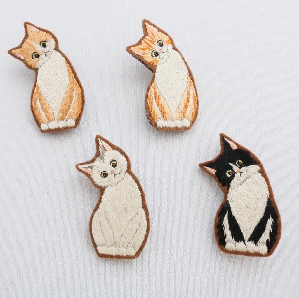 chic_chic_cat 刺繍 ハンドメイド ヘアゴム チャーム ブローチ 秋田 かぎしっぽ 猫雑貨 猫グッズ