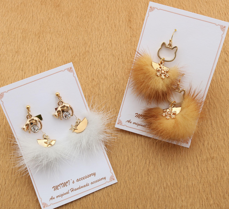MIMI's accessory ハンドメイド 猫アクセサリー 猫雑貨 猫グッズ 秋田 かぎしっぽ ピアス イヤリング
