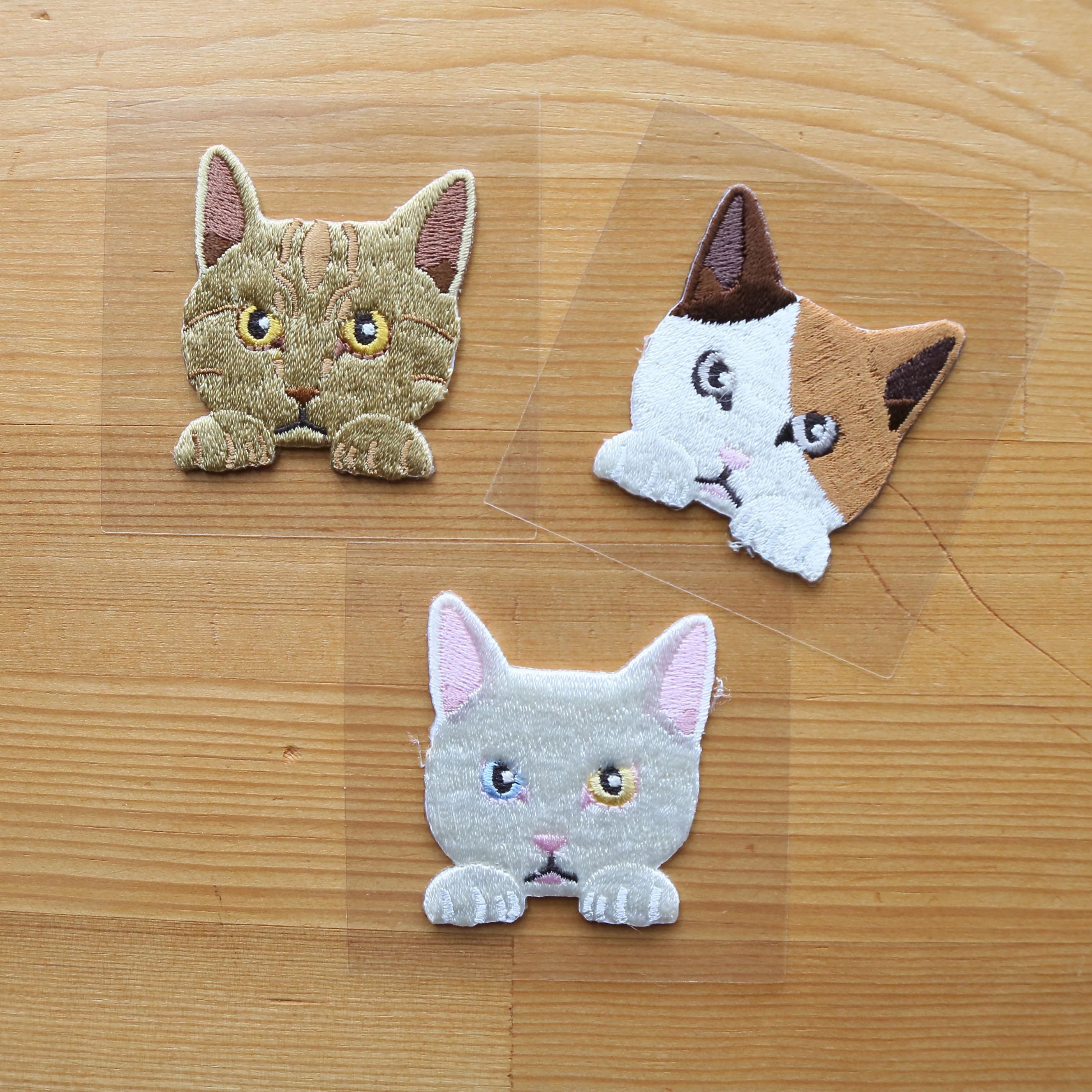 猫雑貨 猫グッズ 秋田 かぎしっぽ 刺繍ワッペン ステッカー
