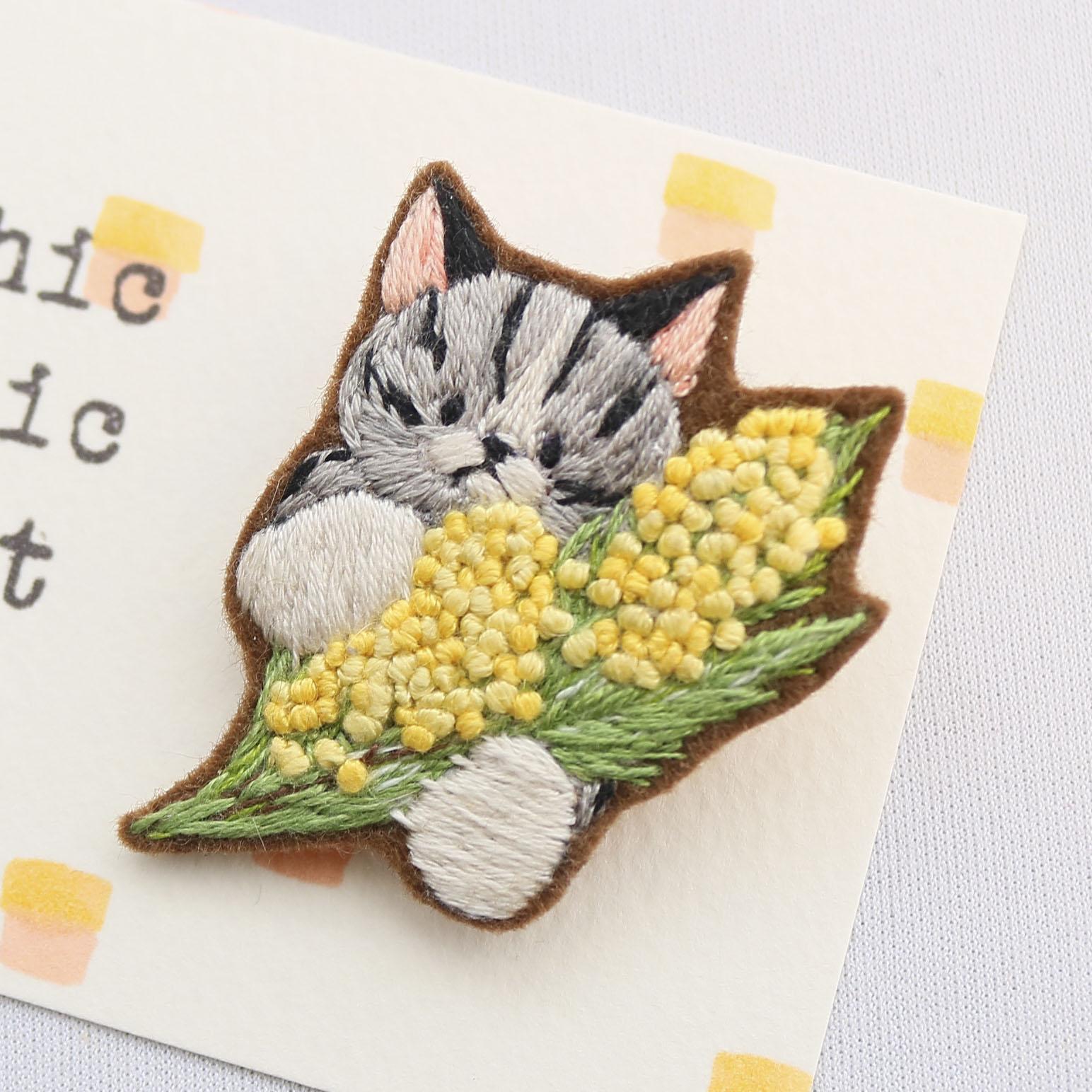 秋田 かぎしっぽ 猫雑貨 猫グッズ 刺繍 ブローチ ハンドメイド
