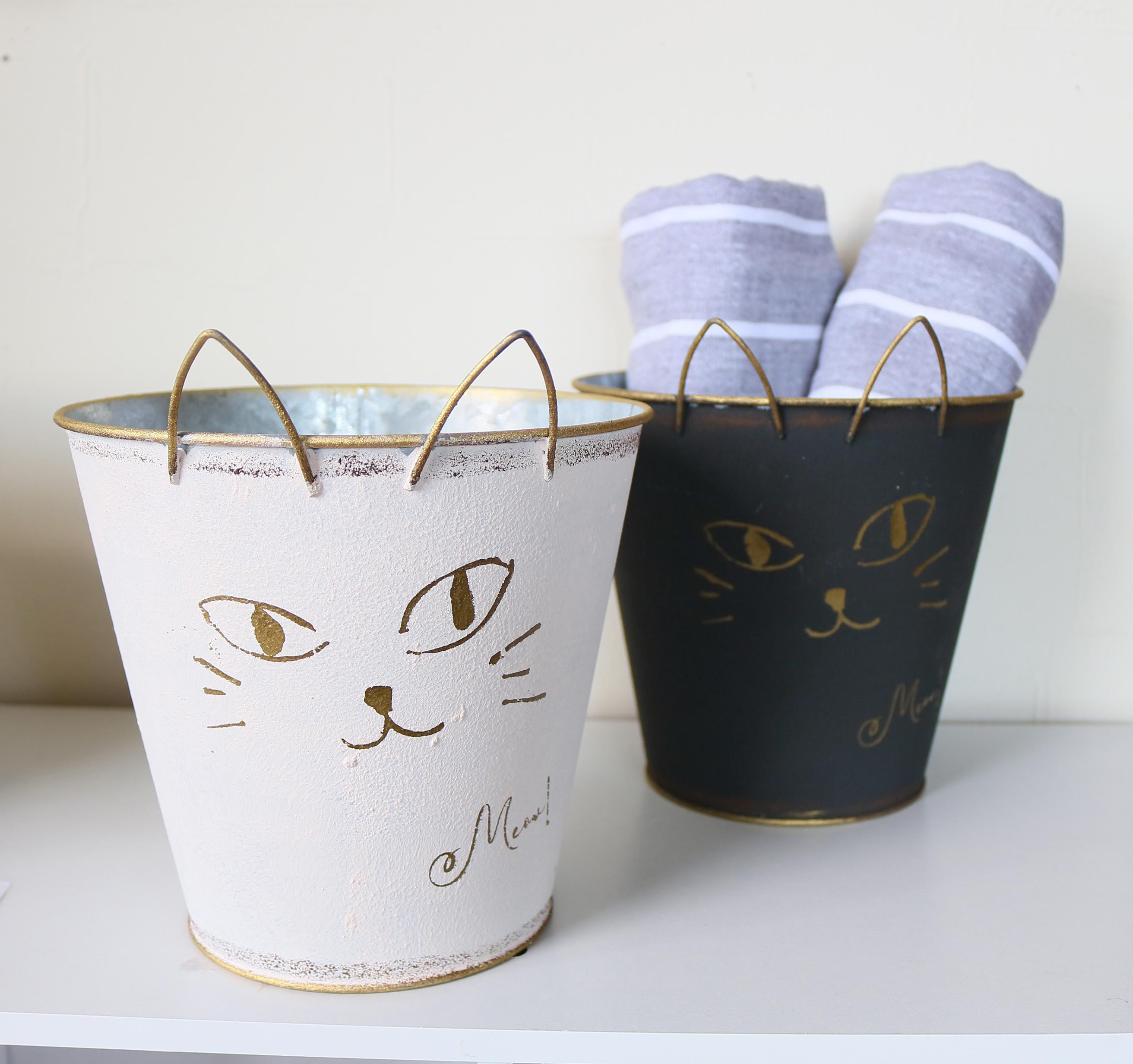 猫雑貨 猫グッズ プランター ブリキ インテリア 秋田 かぎしっぽ