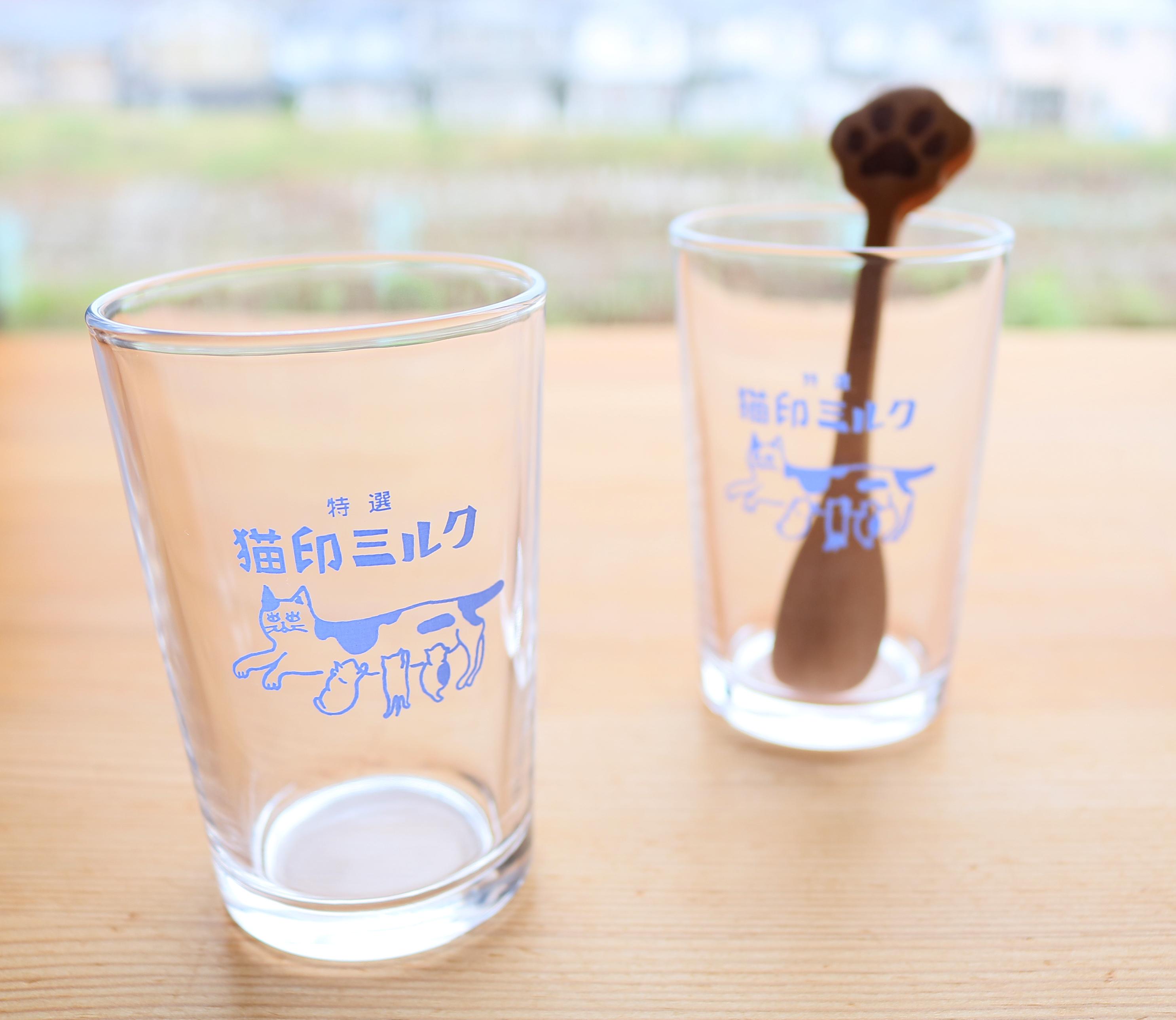 猫雑貨 猫グッズ 秋田 かぎしっぽ グラス 猫印ミルク