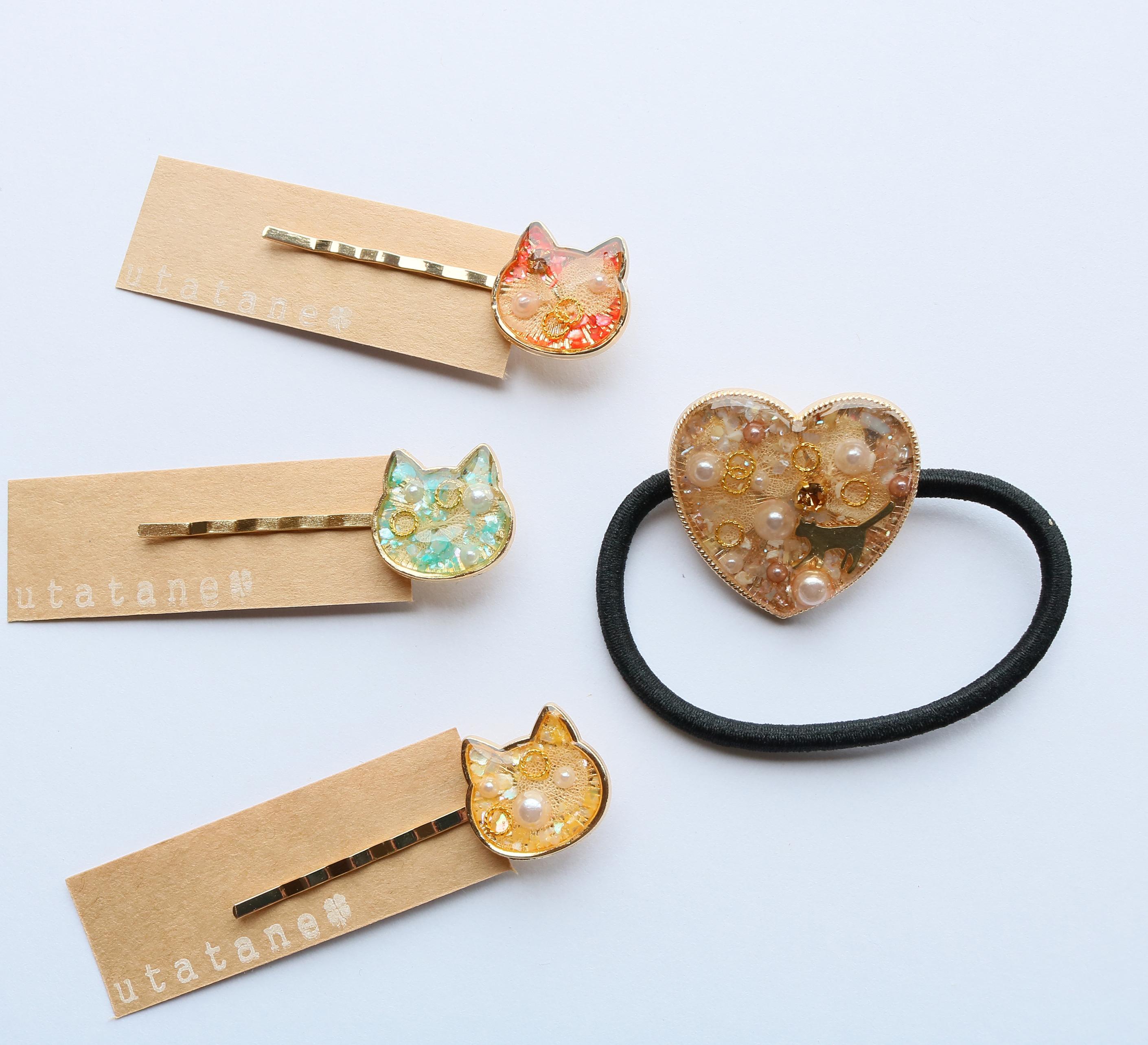 猫雑貨  猫グッズ 秋田 かぎしっぽ ハンドメイド アクセサリー ピアス utatane