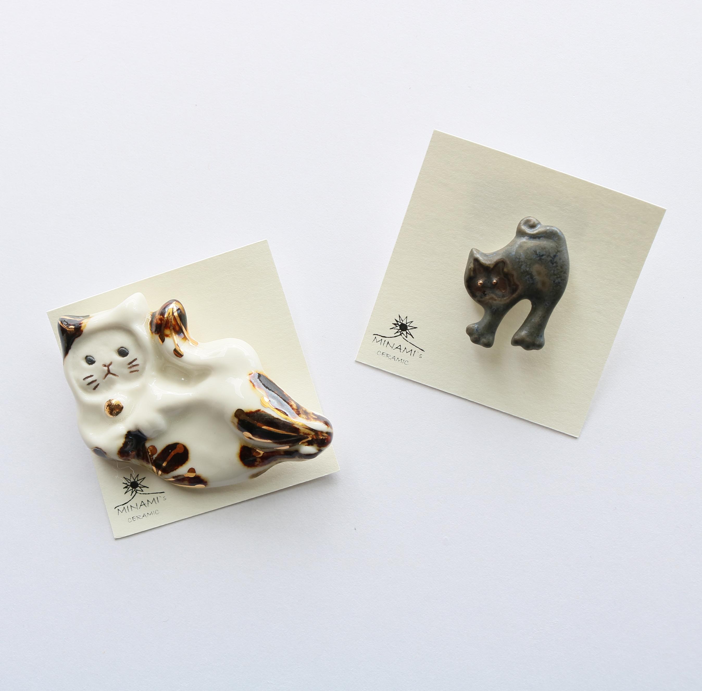 七窯社 美濃焼 タイル ハンドメイドアクセサリー 猫雑貨 猫グッズ 秋田 かぎしっぽ