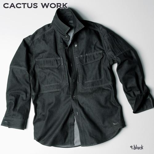 CW-0002 ワークシャツ 9:ブラック