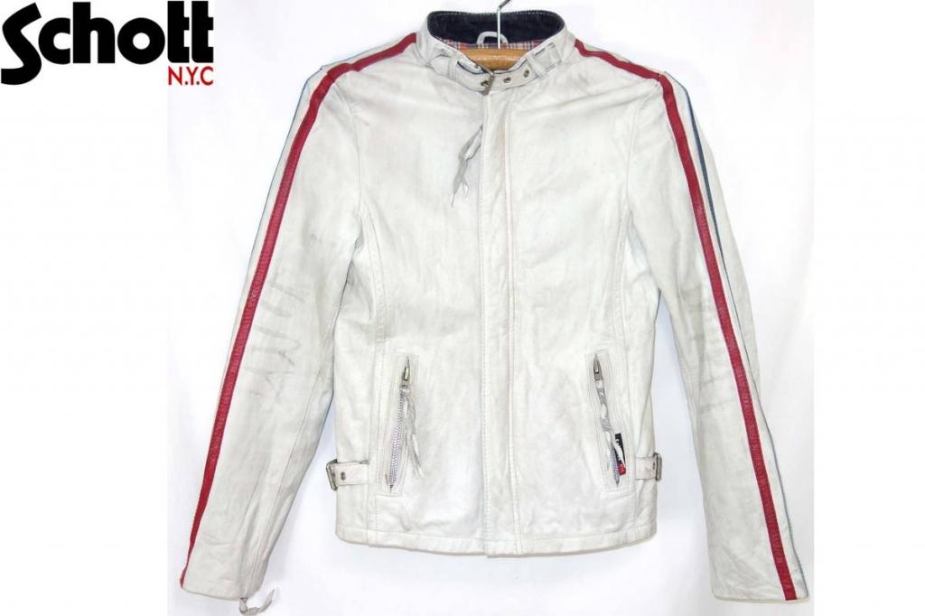 ショットSCHOTTクラシックレーサーライダースジャケット白トリコCLASSICRACER3161002