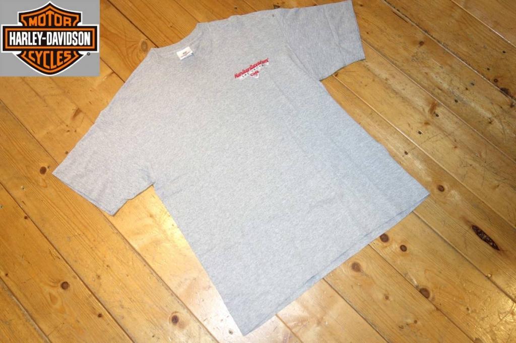 ハーレーダビッドソンharleydavidsonCAFETシャツグレーL胸ロゴ