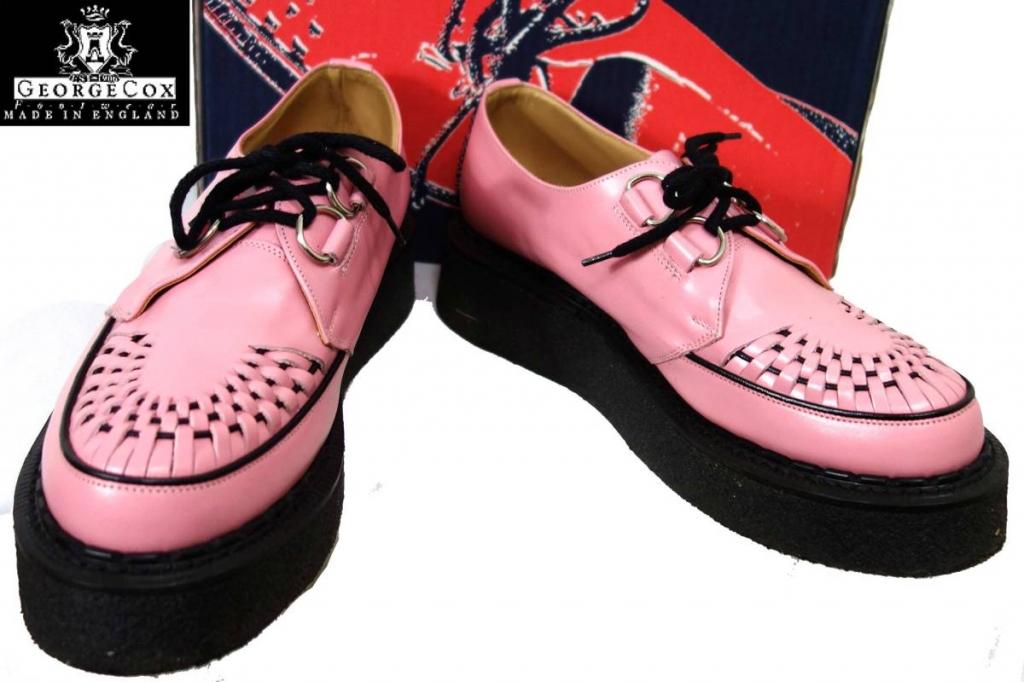ジョージコックスgeorgecoxギブソン3588クリーパーソールラバーソール英国製ピンク